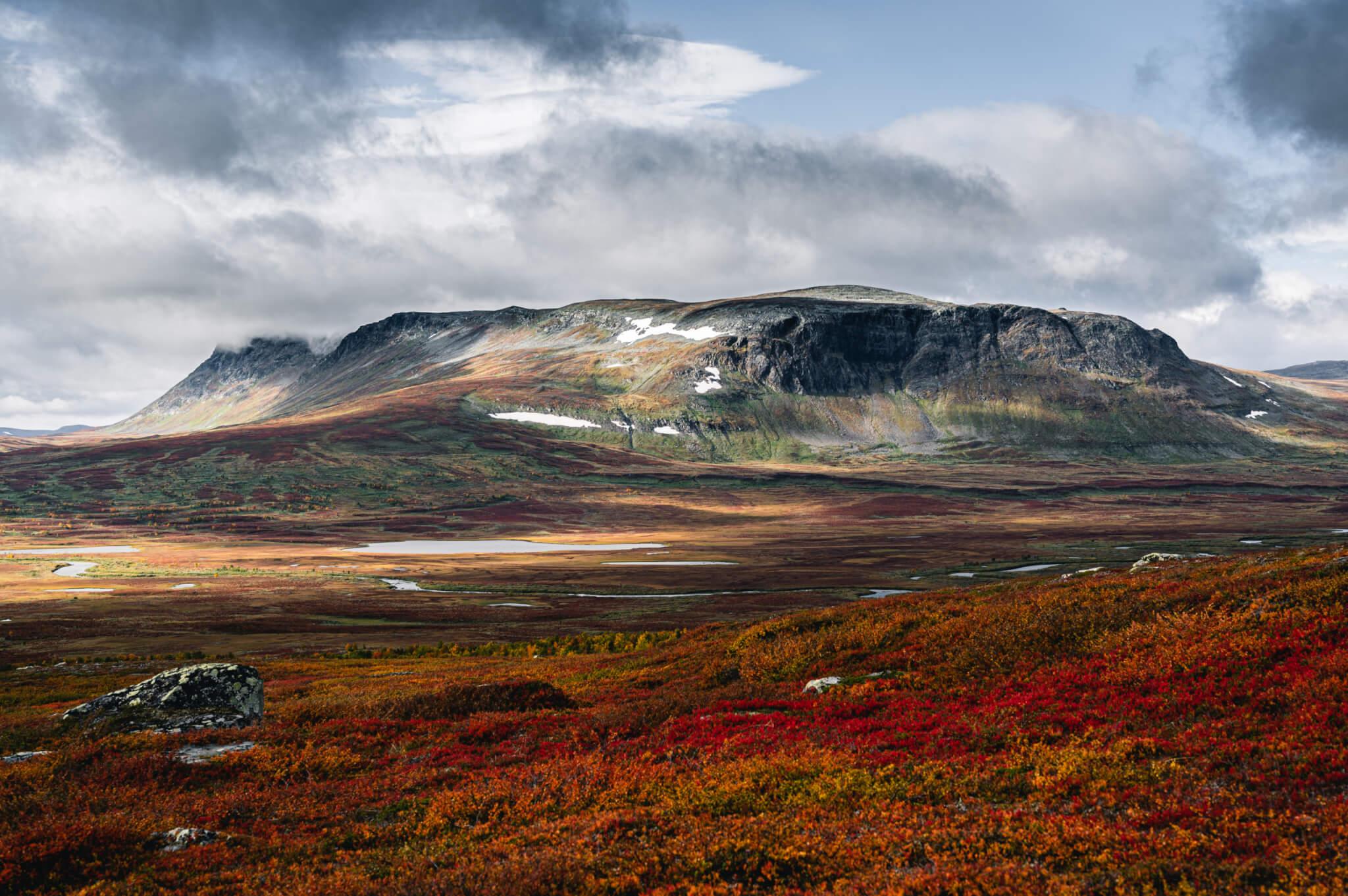 Fjäll i Vindelfjällen. Höstbild med röd tundra.
