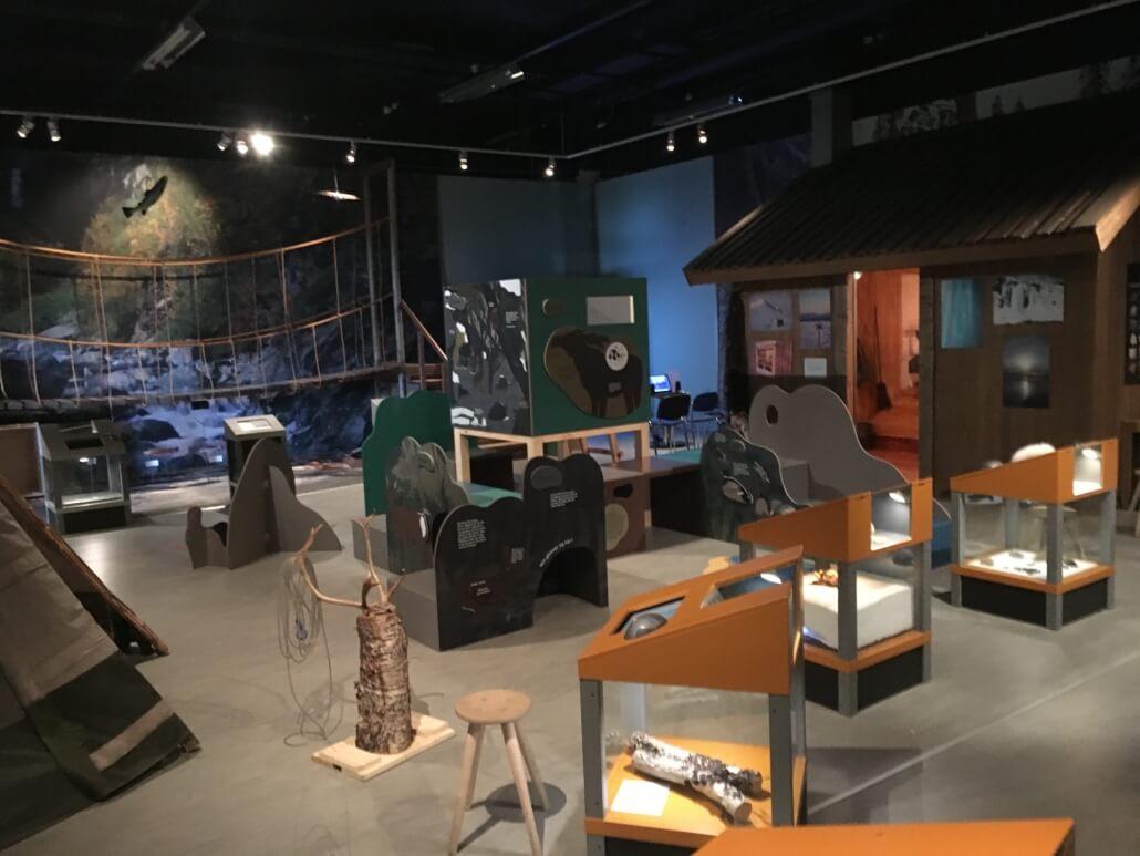 En museiutställning med diverse montrar.